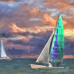 'On the Water' A Digital Painting by Dennis Granzow, 10x8 - Image comes unframed. See framed sample below photo.