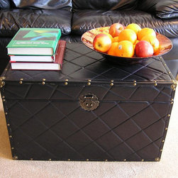 None - Black Faux Leather Large Wood Steamer Trunk - This steamer trunk is a wonderful,smart storage solution for your throw pillows,blankets and other necessities you would like to keep at hand. This trunk also features a cedar construction.