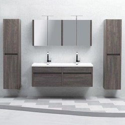 "59.5"" Kiruma Wall Mounted Double Sink Vanity Double Bundle"