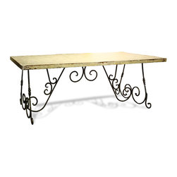 Lincourt Table, Antiqued Cloudy White with Grey and Gold Leaf - Lincourt Table, Antiqued Cloudy White with Grey and Gold Leaf