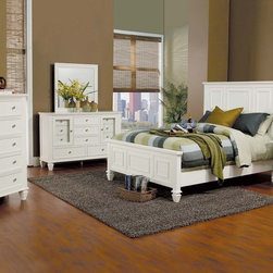 Contemporary, Modern Bedroom Collection - COA- 201301 Sandy Beach Classic And Elegant Ultra High Panel Headboard In White Finish Bedroom Set