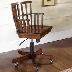"Hammary - Mercantile Desk Chair in Whiskey Finish - Hammary's Mercantile series is crafted of Poplar Solids and Cherry Veneers, Metal and Beveled Glass with a Whiskey finish. The collection is reminiscent of general stores and Early 20th Century styles, the look of this grouping is sure to add a nostalgic and casual feel to any home.; Mercantile Collection; Finish: Whiskey; Castered; Adjustable Height: 31 1/2"" To 35 1/2""; Weight: 50 lbs.; Some assembly required; Dimensions: 22. 75""W x 21. 75""D x 35. 5""H"
