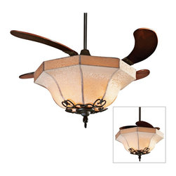 """Fanimation - Arts and Crafts - Mission 43"""" Fanimation Air Shadow  Oil Rubbed Bronze Ceiling F - The Air Shadow ceiling fan ceiling light by Fanimation offers two entirely different looks. Close the fan blades to use as a ceiling fixture; unfurl them and the fixture becomes a strikingly beautiful ceiling fan. 43"""" Air Shadow ceiling fan in oil-rubbed bronze finish with four cherry finish wood blades and fabric shade light kit. This fan features 43 inch blade span; 15 degree blade pitch; and 188 x 18mm motor size. Lifetime motor warranty. Includes light kit; remote control; 6 inch downrod. (ON UM)  Use as a ceiling light or ceiling fan.  Folding blades feature.  Oil-rubbed bronze motor finish.  Four cherry finish wood blades.  43"""" blade span.  15 degree blade pitch.  Light kit included.  Lifetime motor warranty.  Remote control included.  Shade measures 21"""" dia.  Fan height 10.9"""" from ceiling to blades (with downrod).   Fan height 24.25"""" from ceiling to bottom of shade (with downrod)."""