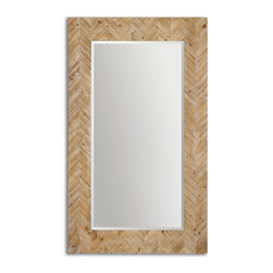 "Uttermost - Uttermost Demetria Oversized Wooden Mirror 07068 - This stately mirror features a chevron patterned, solid wood frame finished with a light gray glaze. Mirror has a generous 1 1/4"" bevel. May be hung horizontal or vertical."
