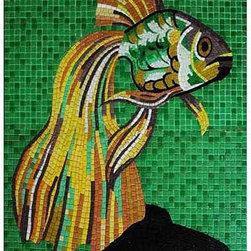 Glass tile mosaic for pool - glass tile mural or pool inlay