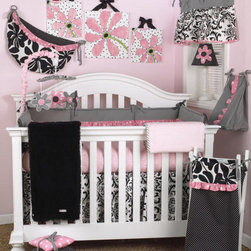 Cotton Tale Designs - Girly 7 Piece Crib Bedding Set - A quality baby bedding set is essential in making your nursery warm and inviting. All Cotton Tale patterns are made using the finest quality materials and are uniquely designed to create an elegant and sophisticated nursery. The Girly 7 Piece Set includes the 3 pc crib bedding(dust ruffle, fitted crib sheet, comforter), diaper stacker, valance, toy bag, and pillow pack. What could be cuter than this adorable set Girly, in pink and black. Sweet, bright pink dot trim with contemporary floral and furry curly Q fleece coverlet in black. Sheet in pink skin with black and white dust ruffle, pink bias trim. The Girly diaper stacker bias in black and white stripe, with pink bias ruffle. Holds up to 4 dozen diapers. Fun and functional. Never tie on the crib. The Girly valance is so adorable. The top yoke of the valance is in black and white bias strip and measures 37 inches wide. The bottom shirred floral measures 54 inches. Length of valance is 17. Girly pillow pack contains 3 pillows measuring in 10x10, 12x12, and 15x15 inches in size. Pillows should never be placed inside the crib. The Girly toy bag can be used as wall decor or tied on changer to store supplies. Functional and fun, can store toys or supplies. never tie to the crib. 100% cotton twill with poly fill. This is a smashing nursery for your baby girl. 100% cotton twill. Wash gentle cycle, separately in cold water. Tumble dry low or hang dry. NO BUMPER INCLUDED IN THIS SET.