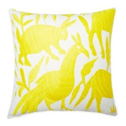 5 Surry Lane - Mexican Embroidered Otomi Yellow Pillow - Warm up your sofa or bedding with a colorful throw pillow. The rich and storied pattern originates with the Otomi Indians of Mexico, and is still hand-embroidered by them today. Pick from two sizes and six vibrant colors to complement your well-traveled aesthetic.