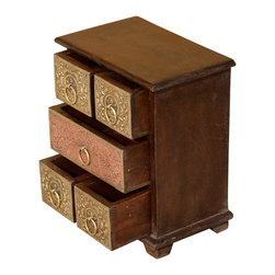 Sierra Living Concepts - 5 Drawer Ornate Brass & Mango Wood Pillbox Chest Jewelry Box - Choose a jewelry box as beautiful as the earrings and necklaces you place inside. This mini chest of drawers is handmade with solid mango wood, a tropical hardwood grown as a sustainable crop.