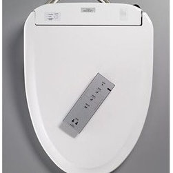 Toto - TOTO® Washlet(R) S300e - The Washlet S300e features a new slim design, at just four inches in height. The Washlet provides a satisfying hygienic experience with warm water washing, including the Wonderwave(R) spray. The new eWater+(TM) function mists the bowl after each use, making a clean bowl easier to maintain and reducing the need for chemicals during cleaning. About ewater+: Electrolyzed water is a proven disinfectant used in food preparation and cleaning. Using the incoming water supply, a pre-mist wets the toilet bowl surface aiding in the elimination of waste approximately 80% better than a dry bowl. After each flush, TOTO's eWater+ mists the bowl with electrolyzed water, reducing the need for harsh cleaning chemicals. Features Elongated or Rounded front Washlet toilet seat with cover Washlet S300e is easy to install and clean. Mounting and connection hardware included Front and rear warm water washing with temperature and adjustable pressure controls Softclose seat Heated seat with temperature control Remote control operation Illuminated touch pad 2 user memory Automatic air deodorizer Warm air dryer Quick release feature Auto open/close lid ewater+ on wand and bowl Pre-mist of bowl before each use Electrical service requirements - 120VAC, 15A, 60Hz protected Class A GFCI IMPORTANT: This washlet will not fit certain toilets. Consult your dealer before ordering. View Spec Sheet