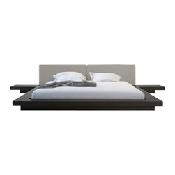 Modloft - Modloft Worth Platform Bed in Wenge and Dusty Grey Leather-King - Mod loft - Beds - HB39AKWENGRY