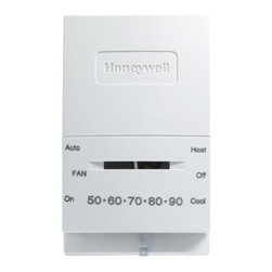 """Honeywell Consumer - Manual Thermostat Heat/Cool - Standard manual control thermostats provide effective temperature control of gas, oil or electric heating and air conditioning equipment. Features a setting and thermometer scale on thermostat face, as well as simple, slide lever control for temperature adjustment and switching control for system operation. Vented cover. Improves temperature sensing. Standard style thermostats can mount directly on the wall or onto a standard junction box. Dimensions: 7""""W x 9.1""""H x 2""""D. This item cannot be shipped to APO/FPO addresses. Please accept our apologies"""