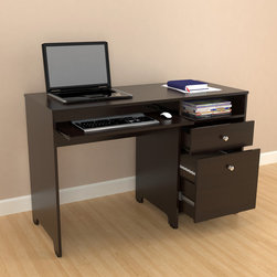 Inval America LLC - Inval Computer Desk - Create a versatile workstation with this wooden computer desk. This desk features one file drawer, a slide-out shelf for a keyboard, and one open storage shelf. Constructed from chrome and melamine, this piece will serve you for years to come.