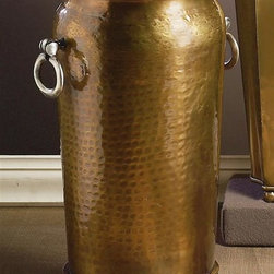 Dessau Home - Hammered Umbrella Stand in Antique Brass - Silver ring handle. Made from brass. Made in India. 9 in. Dia. x 19 in. H