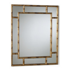 Arteriors - Porter Mirror - With its geometric symmetry and Asian influence, this wall mirror adds distinction to your favorite setting. Crafted of iron with a burnished gold-leaf finish, the frame features a subtly textured bamboo pattern.