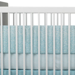 Oilo - Raindrops Bumper, Aqua - Rain can have such a calming effect, so why not bring that element into baby's bed? The playful raindrop design on this baby bumper is sweet and fresh, and it provides a cozy place for your little one to relax. The zippered and machine-washable cover means that mom and dad can relax about keeping it clean, too. Bonus!