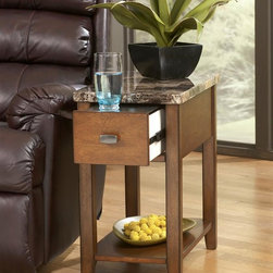 Signature Design by Ashley - Chairside End Table w Drawer - Single Drawer. Color: Brown. 13 in. L x 22 in. W x 23 in. H (31 lbs)