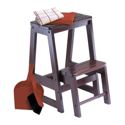 Winsome Wood - Winsome Wood Double Step Stool with Antique Walnut Finish X-22049 - Solid wood construction step stool.  Sturdy stools for reaching higher place. The lower step piece stores up when not in use.
