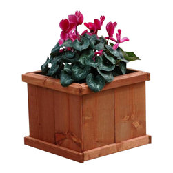 Latte 15' Square Planter - The classic design of the 15' square Latte Planter complements any garden, patio, or deck setting. This small planter is perfect to use in pairs along any walkway or doorway. The cedar wood components are pre-stained with an environmentally safe protectant to ensure lasting service.