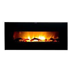 Frigidaire - Frigidaire Valencia Widescreen Wall-Mounted Electric Fireplace with Remote Contr - Shop for Fire Places Wood Stoves and Hardware from Hayneedle.com! Make a statement and add some much-needed heat with the Frigidaire Valencia Widescreen Wall-Mounted Electric Fireplace with Remote Control. This modern elegant electric fireplace is energy efficient and can be installed almost anywhere in your home or office. It features a luxurious logwood flame display that operates with or without heat and the level of brightness can be adjusted at the touch of a button. Its widescreen tempered glass panel provides undeniable class to your favorite setting while automatic overheat protection and a built-in timer offer safety and peace of mind. No assembly or hardware is needed simply plug in and heat. Includes remote control.About FrigidairePerhaps one of the most recognized names in American kitchens Frigidaire was founded in 1916 in Fort Wayne Indiana. During those early days the company was responsible for producing the first self-contained refrigerator; over the years little changed. They were eventually responsible for other landmark inventions including the first air conditioner the first home food freezer and the first 30-inch electric range.With such a legacy of innovation it's little wonder that Frigidaire is still a leader in the appliance industry. With a wide range of products from large to small Frigidaire is still outfitting kitchens in America and across the globe with high quality reasonably priced products designed to suit our busy lifestyles. Why not trust your family's meals to a company with a history of being on top?