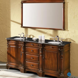 """Fresca - Fresca Cypress Antique Double Sink Bathroom Vanity w/ Black Galaxy Countertop - The traditionally framed Brampton Antique Mirror can add additional storage and complimentary style. Sold separately, this bathroom vanity mirror is an impressive 35 5/8"""" wide x 34"""" high x 1 1/4"""" deep."""