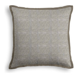 Metallic Silver Coated Taupe Linen Fabric Tailored Pillow - The Tailored Throw Pillow is an updated, contemporary pillow style with the center fabric framed by a thin contrast flange.  Voila! -it's artwork for your couch!  We love it in this shimmering solid of silver metallic foil on dark taupe slubby linen. a chic alternative to standard neutrals that adds depth & sparkle.