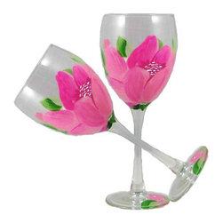 Peony Wine Glasses  Set of 2 - This lovely hand painted wine glass features a wonderful Pink Peony.  Perfect for any occasion.  Something to be handed down from generation to generation.  Proudly hand painted in the USA.