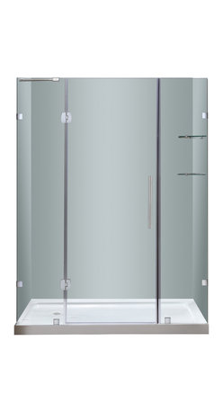 "Aston - Aston 60x77.5, Completely Frameless Hinge Shower Door, Stainless, Left Base - Instantly transform your existing shower alcove space and upgrade your bath's design with the SDR983 60"" Completely Frameless Hinge Shower Door. Constructed of durable 6mm ANSI-certified tempered clear glass and chrome or stainless steel finish hardware, you can achieve a custom-look in your bath. Deluxe clear seal strips prevent leakage which allows for this completely frameless design. The SDR983 also includes two interior glass shelves designed with convenience and functionality in mind. This model is configured for reversible left or right hand door installation and can be paired with an optional left, center or right configured 2.5"" low profile acrylic fiberglass enforced base."