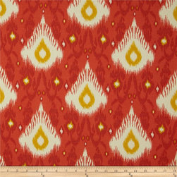 Swavelle/Mill Creek Indoor/Outdoor Chipego Flame Fabric - Here's another winner for the boho crowd. I love the strong paprika color mixed with mustard in this ikat.