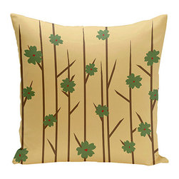 e by design - Floral Branches Beige 16-Inch Cotton Decorative Pillow - - Decorate and personalize your home with coastal cotton pillows that embody color and style from e by design   - Fill Material: Synthetic down  - Closure: Concealed Zipper  - Care Instructions: Spot clean recommended  - Made in USA e by design - CPO-NR5-Branches_Flowers_Bamboo-16