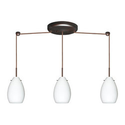 Besa Lighting - Besa Lighting 3BB-171307 Pera 3 Light Linear Pendant - The Pera 6 is a curvy bell-bottomed shape, that fits nicely into any contemporary design. Our Opal glass is a soft white cased glass that can suit any classic or modern decor. Opal has a very tranquil glow that is pleasing in appearance. The smooth satin finish on the clear outer layer is a result of an extensive etching process. This blown glass is handcrafted by a skilled artisan, utilizing century-old techniques passed down from generation to generation. The cord pendant fixture is equipped with three (3) 10' SVT cordsets and a 3-light linear canopy, two (2) suspension stemhooks included.Features: