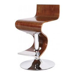 None - Walnut Adjustable Retro Bar Stool - Featuring an elegant walnut finish and a durable chrome base plate. This adjustable bar stool will give your room or kitchen a nostalgic retro look. This furniture piece seat height can be adjusted from 21.5 to 30 inches.