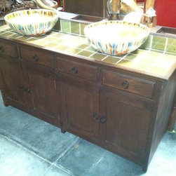 Reclaimed Teak Rustic Double Vanity Sink - Available in double and single vanity sink with custom cabinet, tile top and vessel sink with fancy glazed finish.
