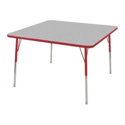 "Ecr4kids - Ecr4Kids Adjustable Activity Table - Square 48"" X 48"" Elr-14117-Grd-Tb Red - Table tops feature stain-resistant and easy to clean laminate on both sides. Adjustable legs available in 3 different size ranges: Standard (19""-30""), Toddler (15""-23""), Chunky (15""-24""). Specify edge banding and leg color. Specify leg type."