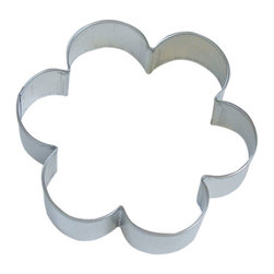 RM - Scallop Flower 4 In.  B1708X - Scallop Flower cookie cutter, made of sturdy tin, Size 4 in., Depth 7/8 in., Color silver