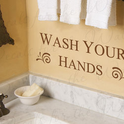 Decals for the Wall - Wall Decal Quote Sticker Vinyl Art Lettering Large Wash Your Hands Bathroom BA07 - This decal says ''Wash your hands''