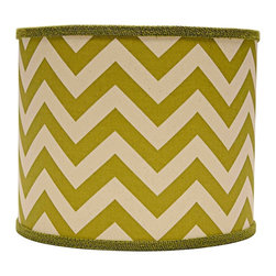 """Lamps Plus - Transitional Village Green Chevron Drum Lamp Shade 14x14x11 (Spider) - This drum lamp shade features a cotton exterior with a village green zigzag design and a chrome spider fitter for a touch of shine. An appealing accent shade to dress up a floor or table lamp. The correct size harp is included free with this purchase. Drum lamp shade. Cotton exterior. Village green chevron print. Spider fitter.  Unlined. Correct size harp included. 12"""" across the top. 14"""" across the bottom. 11"""" high.  Drum lamp shade.  Cotton exterior.  Village green chevron print.  Spider fitter.  Unlined.  Correct size harp included.  14"""" across the top.  14"""" across the bottom.  11"""" high."""