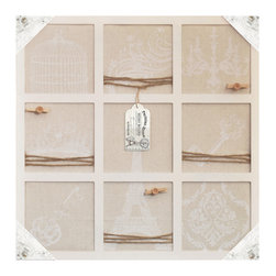 Lightaccents - Wall Decor Collection Distressed Wood Wall Memo Bulletin Board  (Ivory) - Antique Wooden Finish gives this clip board a old world French country feel. Nine Pin able square areas decorated in traditional French iconic images are printed on the fabric, this message holder immediately gives your room French country character.