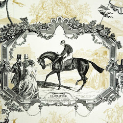 Horse Fabric - A horse toile fabric. An equestrian toile fabric in gold and black. This is a classic! A wonderful pattern with vintage race horse scenes.