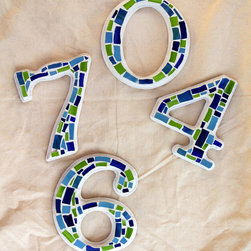 Mosaic House Numbers by A. Ceñal - The bright colors on these house numbers are so fun. Use them for spring and summer, and then change them out when fall and winter come along.