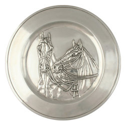 Vagabond House - Pewter Throughbred Horse Charger - Two magnificent steeds in raised relief adorn our polished pewter charger.
