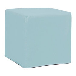 """Howard Elliott - Contemporary Howard Elliott No-Tip Breeze Outdoor Block Ottoman - Contemporary indoor-outdoor cube ottoman. Weather-resistant light Starboard Breeze blue 100-percent solution-dyed acrylic upholstery. No-tip design distributes weight evenly. High-density foam insert with soft foam cushioning. High-density foam insert covered with soft foam withstands the elements. Elegantly tailored removable cover with hidden zipper. Use indoors or outdoors as footrest table or seat. Made in the U.S.A. Simple assembly required. 17"""" wide. 17"""" deep. 17"""" high.   Contemporary indoor-outdoor cube ottoman.  Weather-resistant light Starboard Breeze blue 100-percent solution-dyed acrylic upholstery.  No-tip design distributes weight evenly.  High-density foam insert with soft foam cushioning.  High-density foam insert covered with soft foam withstands the elements.  Elegantly tailored removable cover with hidden zipper.  Use indoors or outdoors as footrest table or seat.  Made in the U.S.A.  Simple assembly required.  17"""" wide.  17"""" deep.  17"""" high."""
