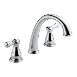 """Delta - Delta T2775 Chrome Leland Leland Roman Tub Faucet Trim - Product Features:  Fully covered under Delta s limited lifetime warranty All-brass faucet construction Superior finishing process - faucet finish covered under lifetime warranty A charming teapot-inspired series of faucets for the entire home Timeless design is a perfect marriage of both form and function Double handle 1/4 turn operation ADA compliant Extra secure mounting assembly All necessary mounting hardware included  Product Specifications:  Overall Height: 8-1/2"""" (measured from mounting deck to highest point of faucet) Spout height: 5-1/4"""" (measured from mounting deck to faucet outlet) Spout reach: 8-1/4"""" (measured from center of faucet base to center of faucet outlet) 18 gallons-per-minute flow rate Installs onto decks up to 1-1/4"""" thick 2 handles included Rough-in valve not included (when adding to cart, valve will be offered)  Variations:  T2775: this model T4775: this model + hand shower  About Delta: Delta is more than just a brand of kitchen and bathroom faucets. It's a name that represents what's possible in today's plumbing technologies. Every kitchen and bathroom in every home is unique, and with a wide range of pricing and features, Delta faucets and fixtures can meet every need. Delta is driven by its quest for innovation—and this applies to its kitchen and bathroom faucets and fixtures. From Touch2O technology (which turns the faucet on and off with just a touch) and MagnaTite technology (which eliminates droopy pull-down spray heads), to H2Okinetic showers (for a warmer and more luxurious shower experience), your life is simplified through innovations. And if you're"""