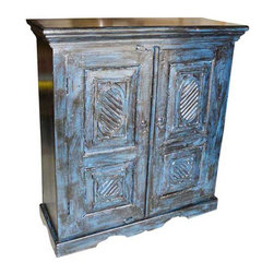 Mogul Interior - Sideboard Blue Storage Cabinet - Gorgeous antique blue patina hand crafted rustic armoire from India. Ravishingly Crown molding crafted at top and scalloped arch carving at bottom of the cabinet. It is having Two hinged doors that open on the side and two shelves. Specializing in one of a kind vintage, shabby cottage chic and rustic furniture and antiques.
