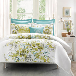 Harbor House - Harbor House Amelia Duvet Cover Mini Set - Bring the outdoors in with the Harbor House Amelia Collection. This beautiful botanical pattern is printed on 100% cotton and winds up the center of the duvet cover leaving solid white space on each side while coordinating shams follow the pattern up one side. Duvet & Sham: 100% cotton small box dobby printed, 180TC cotton solid reverse