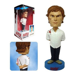 "KOOLEKOO - Dexter Bobble Head Case - ""Yes, I wanna play. I really, really do."" From the hit Showtime television series, this is the very 1st item based on the star of the show! A blood-spatter expert for the Miami Police Department by day, Dexter spends his nights murdering other serial killers. Now this so-called ""good guy"" is available in 7-inch bobble head form! He's made of resin and would love to come over to your place to play. So, bring him home today!"