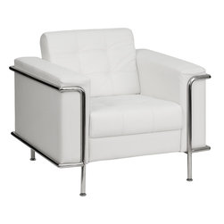 Flash Furniture - Flash Furniture Hercules Lesley Series Contemporary White Leather Chair - This attractive white leather reception chair will complete your upscale reception area. The design of this chair allows it to adapt in a multitude of environments with its tufted cushions and visible accent stainless steel frame. [Z-BLESLEY-8090-CHAIR-WH-GG]