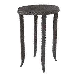 Studio A - Studio A Waves Graphite Martini Traditional End Table X-19008.7 - Inspired by mid-century French designer Line Vautrin's work in plated metals, the Waves collection highlights hand-applied finishes over cast iron.