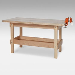 Wood Designs Workbench - Just like Mom and Dad kids get a hankering to make things. Now they can go to their very own kid-size workbench to do just that with the Wood Designs Workbench. Great for art projects crafts and demonstrations. Pull up a couple of chairs to use the bench as a writing desk. The 1 1/2-inch-thick solid maple top of the Wood Designs Workbench provides a perfect work area for creative kids and the under-bench storage holds everything from books and art supplies to boards and building blocks. Kids will be delighted with the real metal woodworking vise that comes with the bench and they'll be inspired by your faith in their abilities. About Wood Designs Healthy Early Learning FurnitureWith more than half a decade of experience manufacturing for the school and early learning industries Denny and Debbie Gosney began Wood Designs to create youth furniture that enriches the development of young children's lives. The company uses the finest quality materials and every product is inspected before it arrives in the hands of its young customers. Wood Designs' highly skilled craftspeople use their experience to make premium safe quality furniture designed with kids in mind. In 2008 Wood Designs introduced a new line of furniture that offers the safest strongest most environmentally friendly products available for classroom use. Safety features include recessed backs and extra depth for stability rounded edges Tip-Me-Not doors that go all the way to the floor so it's more difficult for children to pull over the furniture and Pinch-Me-Not continuous hinges that help prevent pinched fingers. All Wood Designs furniture receives a triple coat of Healthy Kids Tuff-Gloss™ the company's GREENGUARD certified UV finish - tough durable stain and chemical resistant and easy to clean. Furniture is constructed with a strong (and beautiful) mortise glue and steel pin assembly method. Wood Designs assembly is many times stronger than furniture assembled with pencil-thin dowels and all pieces include a lifetime warranty.