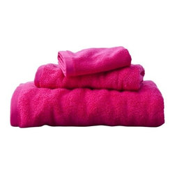 Room Essentials Solid 3-Piece Towel Set, Fiery Pink - Add a jolt of bold color to your powder room or guest bath with these fun fuchsia towels.