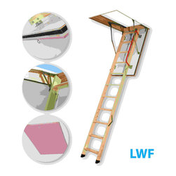 Fakro - LWF 25x54 Wooden Fire Rated Attic Ladder 300 lbs 1... - The LWF 25/54 fire-resistant attic ladder provides an easy access to the loft performing at the same time the function of a blaze block in case of a fire inside the building. The hatch manufactured with the use of fireproof materials is equipped with an expanding peripheral seal which ensures tightness during fire. The LWF attic ladder possesses fire resistance of EI 30 minutes. The peripheral seal positioned in the groove milled in the frame provides a first-class tightness. The ladder's segment folding system and possibility to lock the hatch in fully open position ensure an ease of operating. The using safety is ensured thanks to the application of rounded side supporters and remaining hardware which do not pose any threat of cutting. The outer (visible) side of the hatch is smooth without any visible fixing elements.